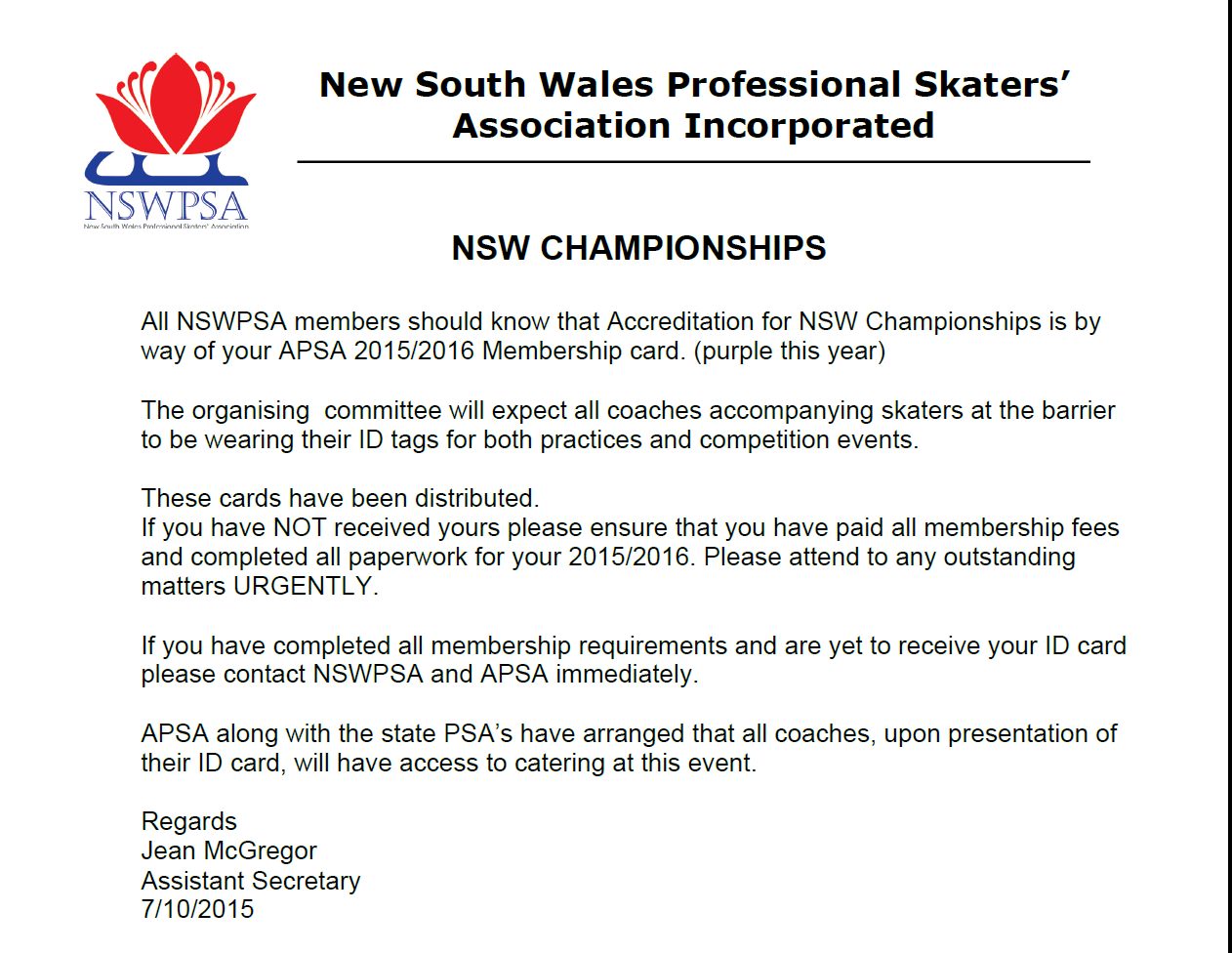 NSW Championships - 2015-16 Accreditation ID Card